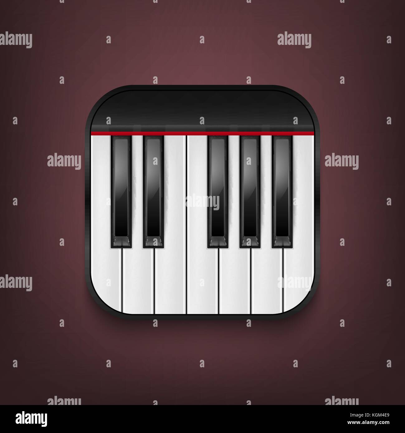Vector Photorealistic Piano Keyboard Icon Design Template In EPS10