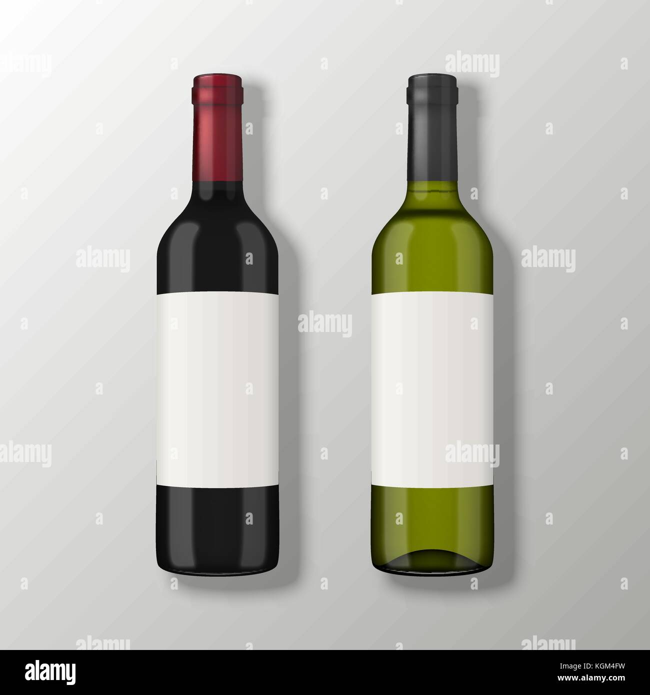 two realistic vector wine bottles in top view with blank labels on