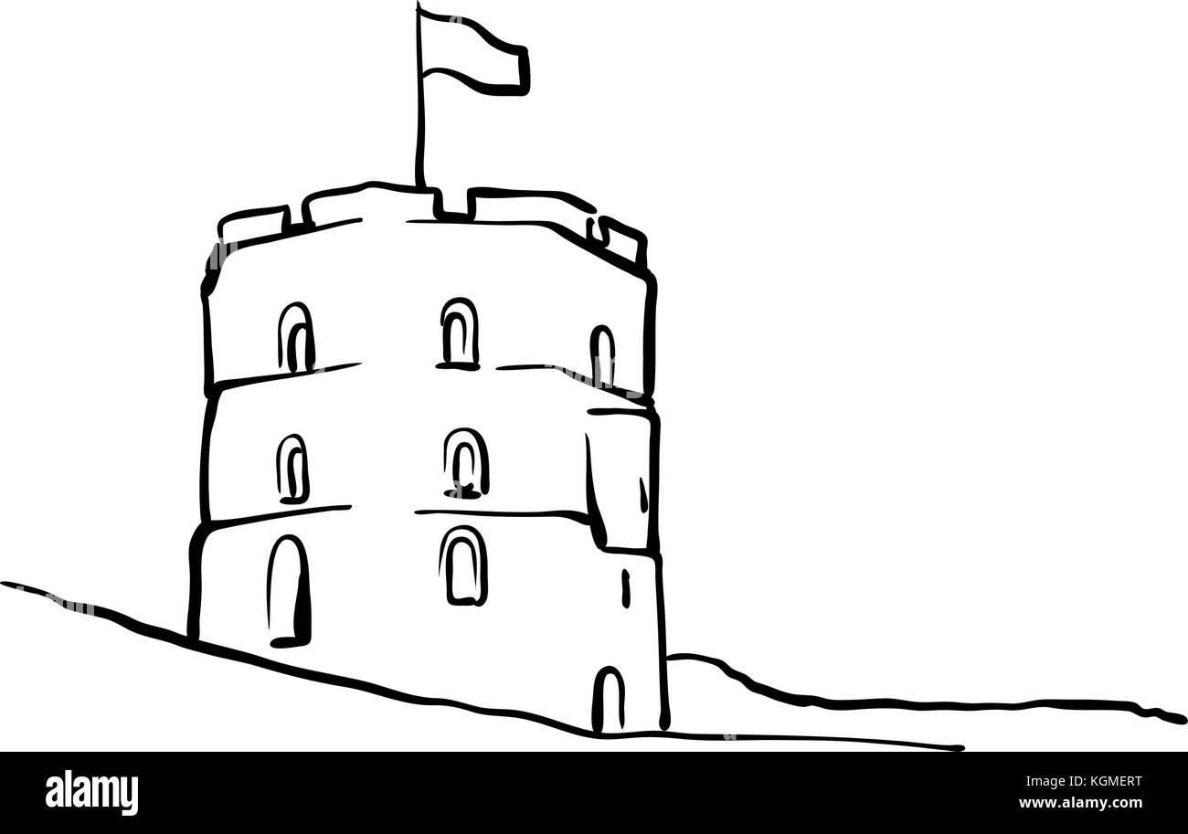 vilnius lithuania famous travel sketch lineart drawing by hand