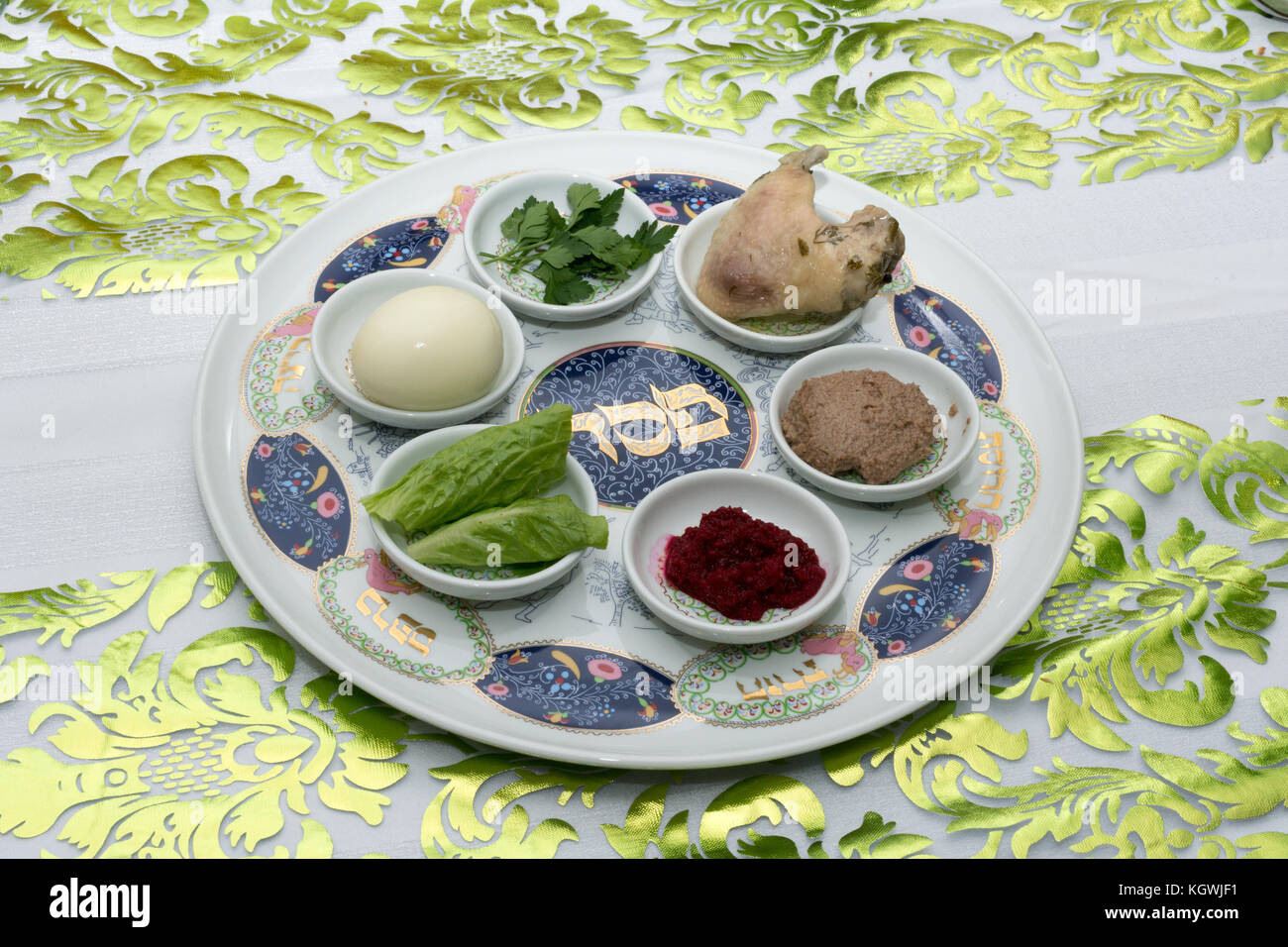 traditional passover seder plate with six items which stock