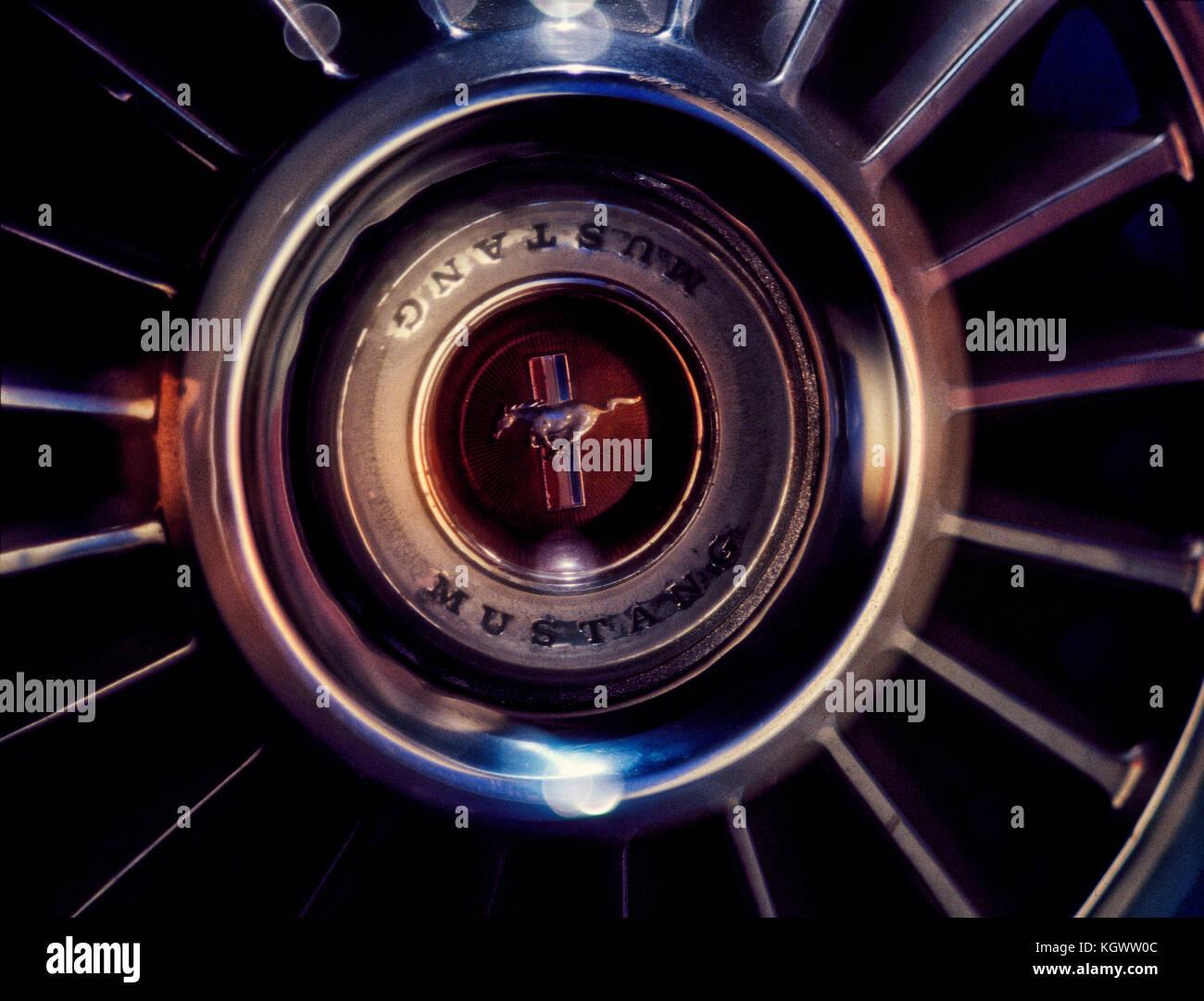 mustang hubcap stock image