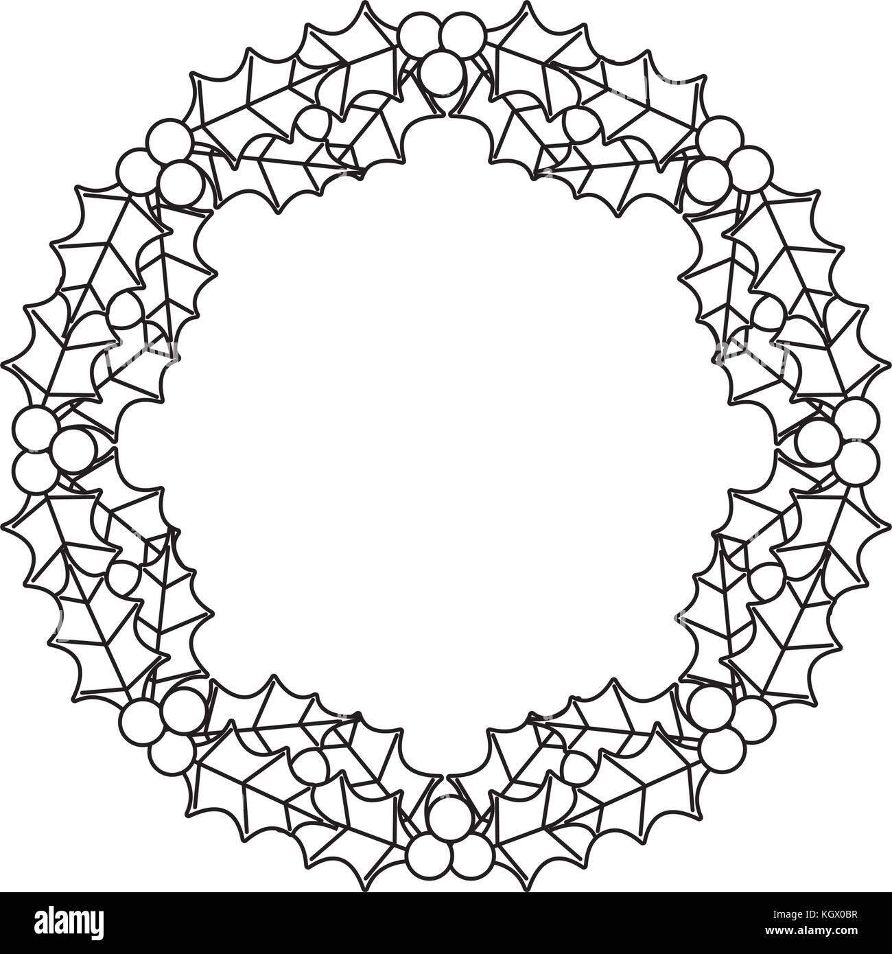 christmas wreath berries and fir leaves round frame stock vector art  christmas wreath berries and fir leaves round frame