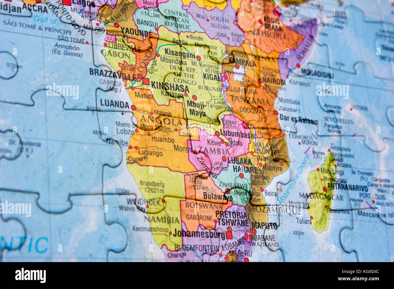 Africa Map Mozambique%0A World map puzzle  Stock Image