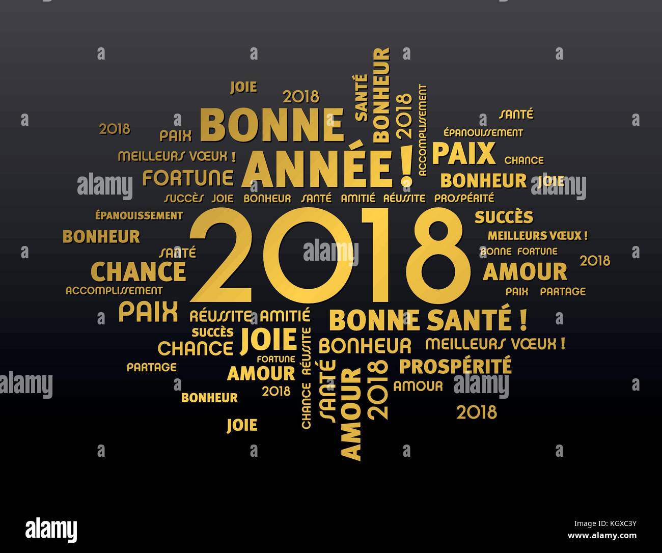 Gold greeting french words around year 2018 date on black stock gold greeting french words around year 2018 date on black m4hsunfo
