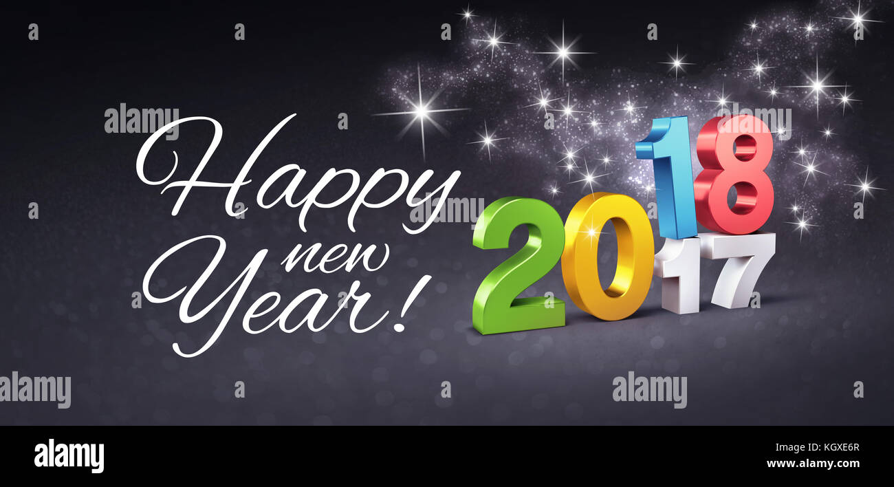 Colorful Date 2018 Above 2017 And Happy New Year Greetings On A