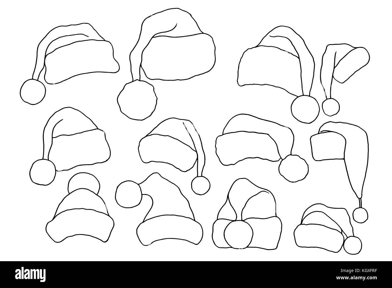set of monochrome doodle hats santa claus template christmas hat