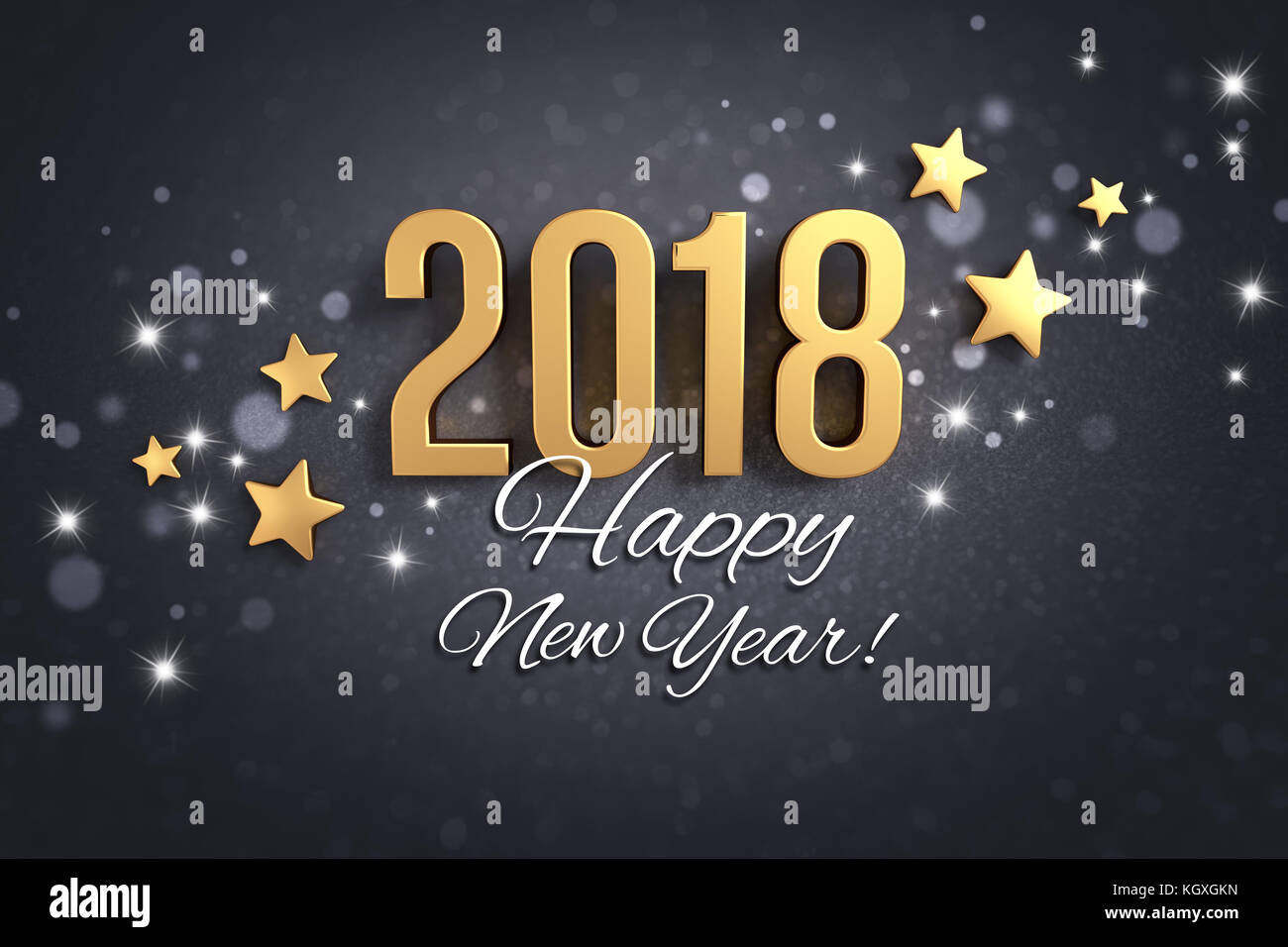 Happy New Year Greetings And Date 2018 Colored In Gold On A