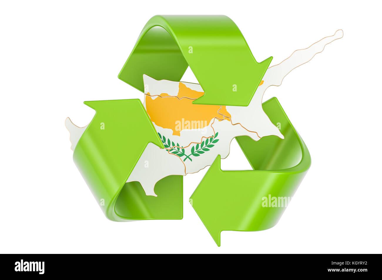 Recycling symbol flag stock photos recycling symbol flag stock recycling in cyprus concept 3d rendering isolated on white background stock image buycottarizona Choice Image