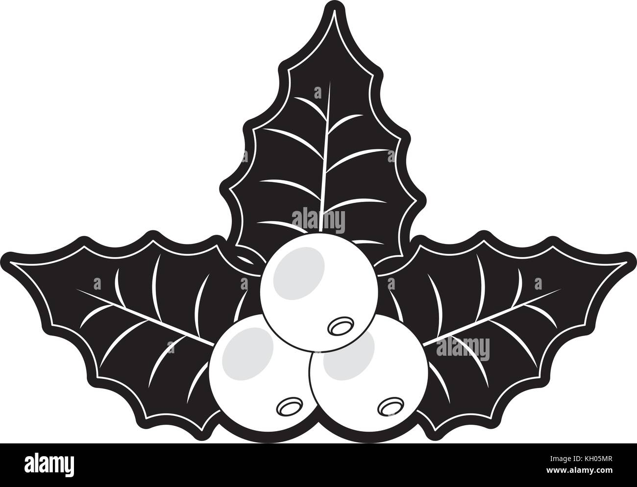 flat line monochromatic christmas pick over white background vector ...