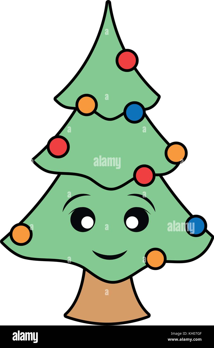 kawaii christmas tree icon over white background colorful design ...
