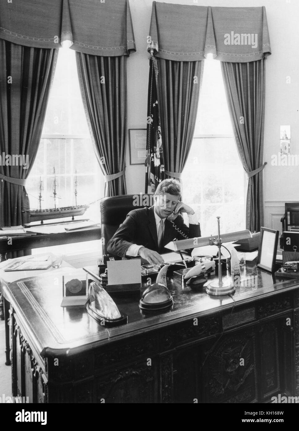 john f kennedy oval office. Jfk Oval Office. President John F. Kennedy At His Desk In The Office F