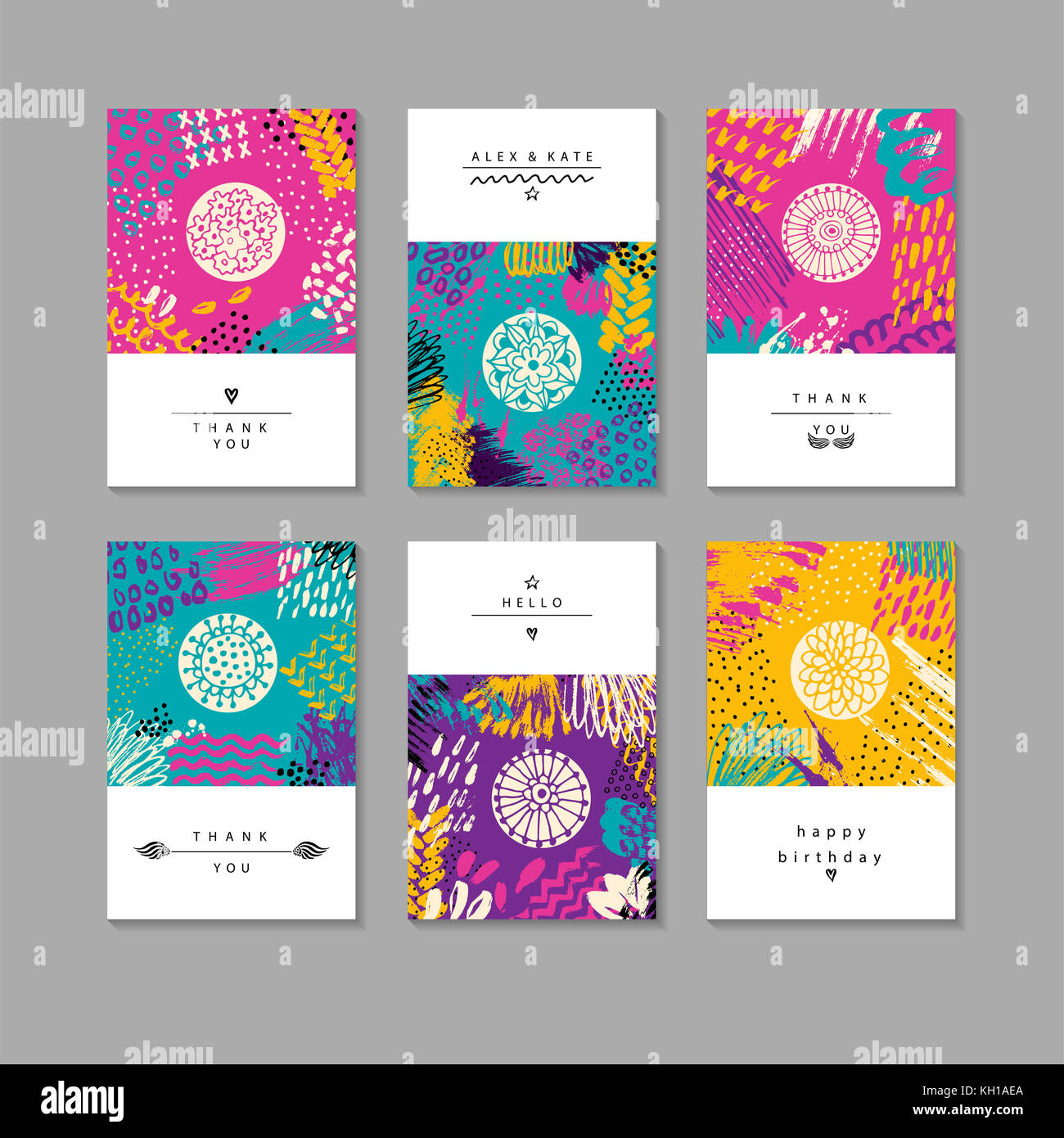 Set of creative business card template and flyers.Set of artistic ...