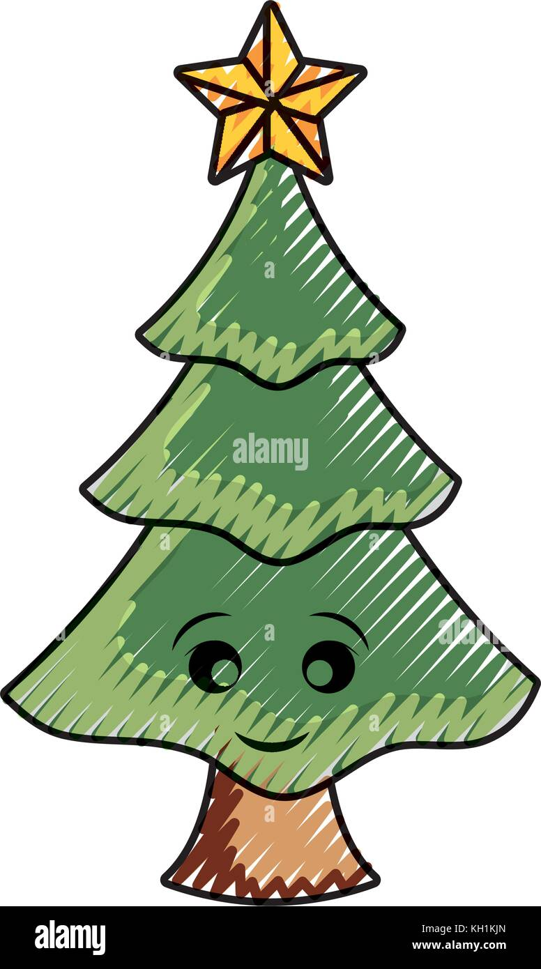 flat line colored christmas tree over white background vector Stock ...