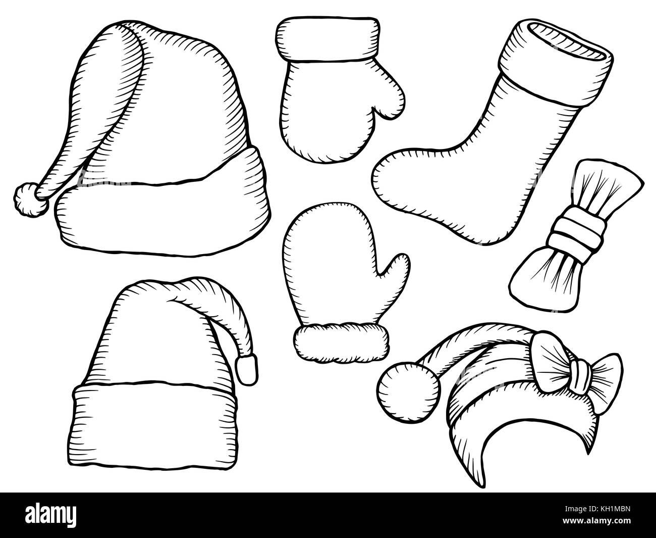 set of monochrome doodle hats boots socks santa claus template