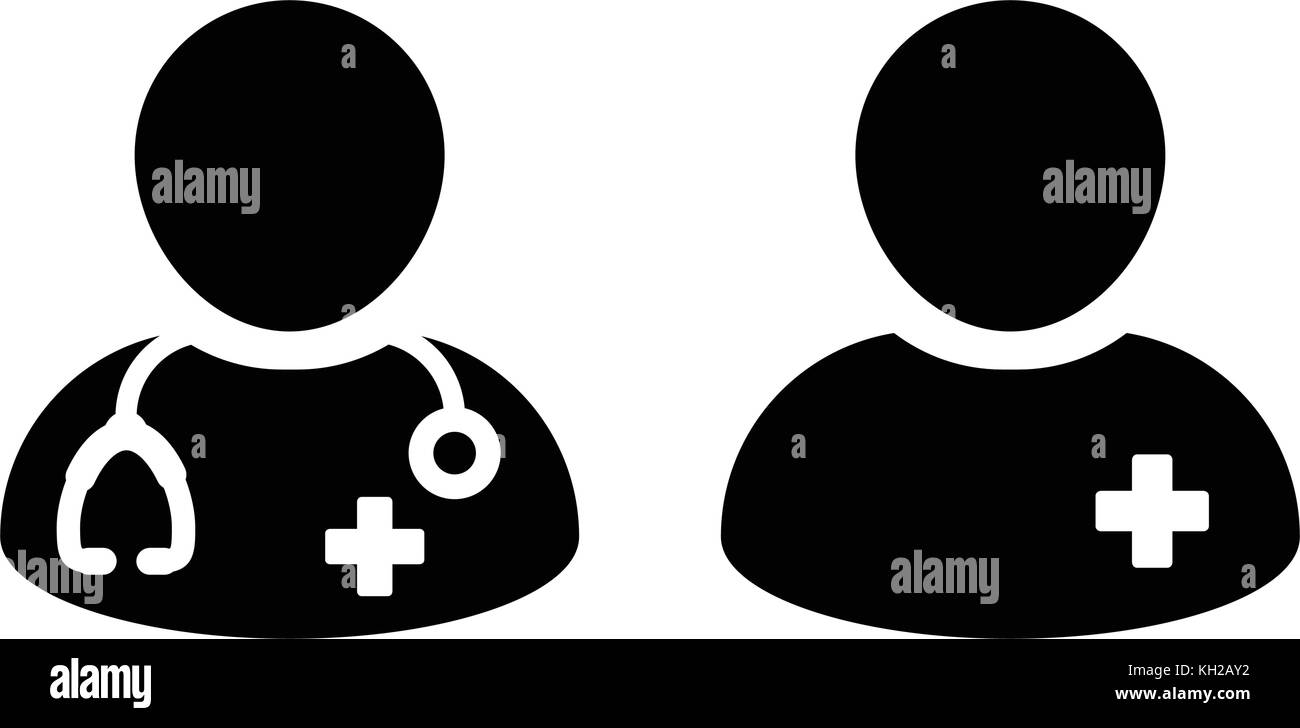 Doctor icon with male patient medical consultation and assistant doctor icon with male patient medical consultation and assistant avatar in symbol glyph pictogram illustration buycottarizona Images