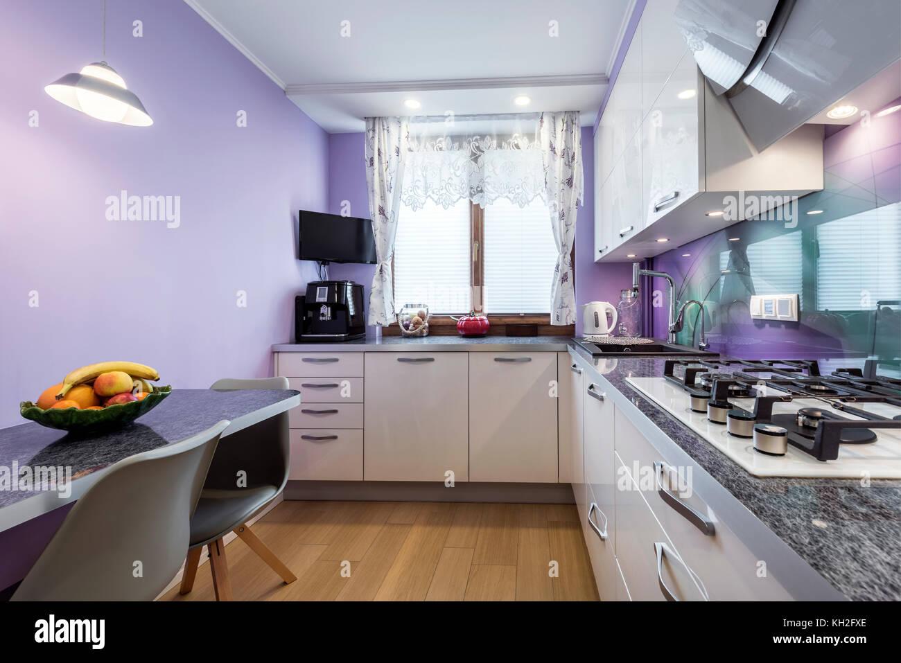 Modern Kitchen Interior Design In Lavender Violet Finishing Stock