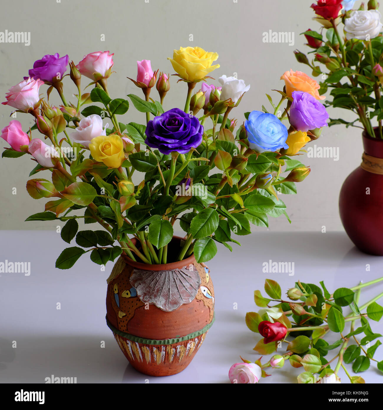 Wonderful Vase Of Rose From Clay Colorful Roses Very Beautiful