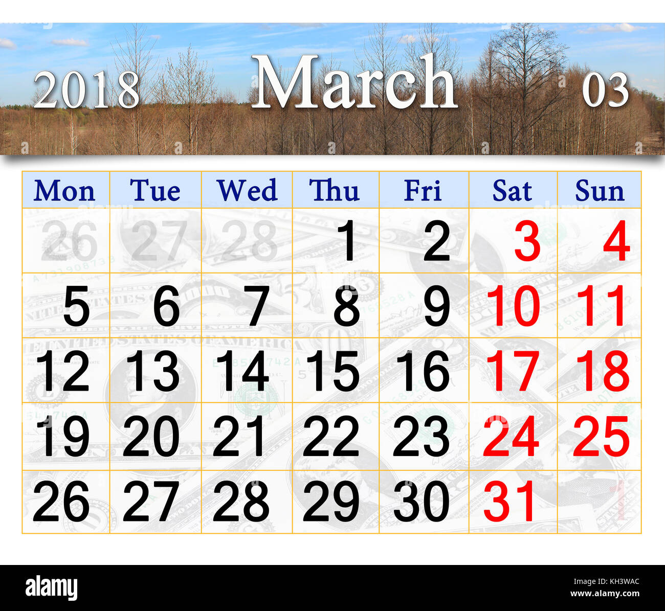 calendar for march 2018 with trees in the early spring