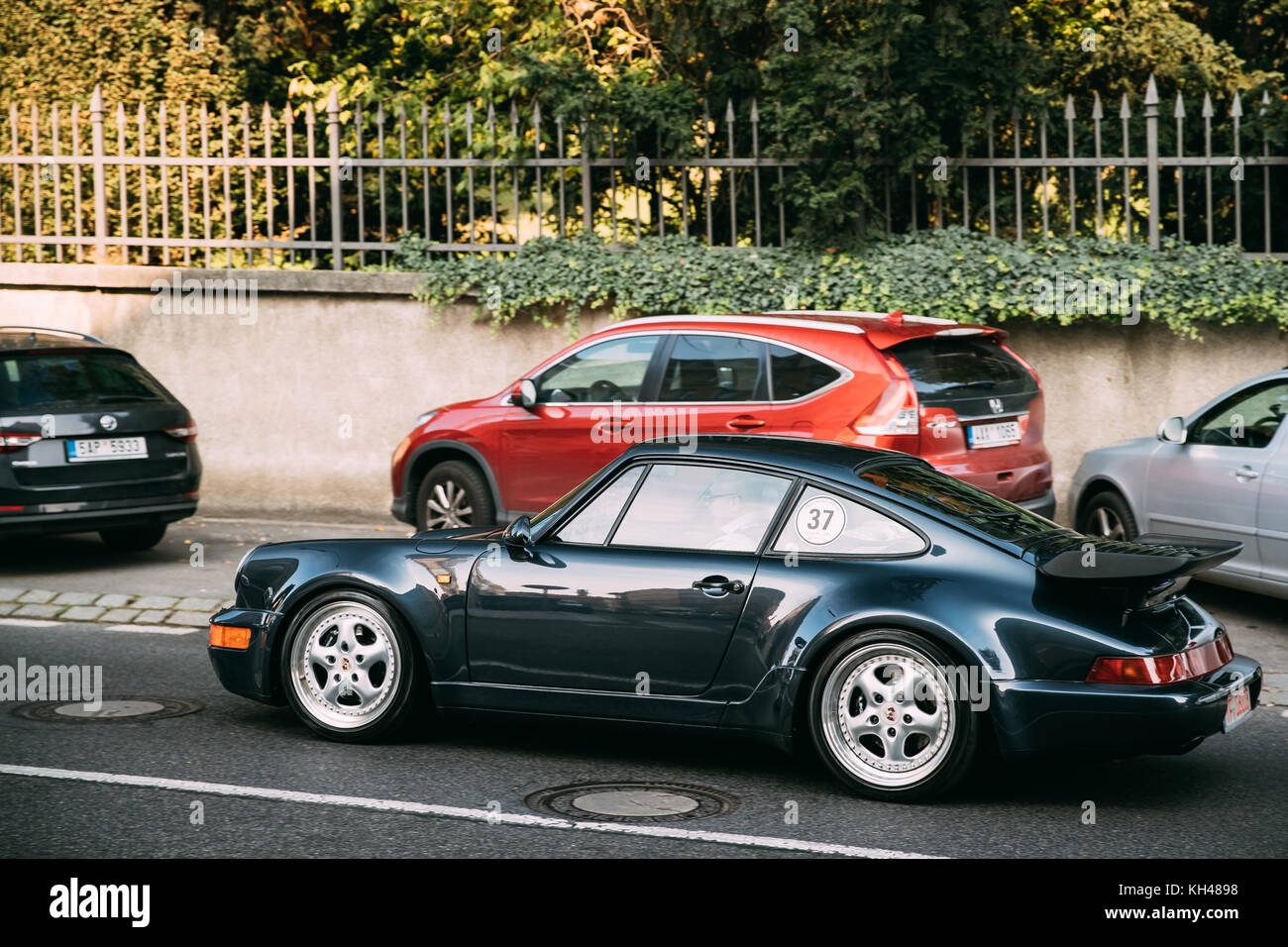 Prague, Czech Republic   September 23, 2017: Side View Of Porsche 964 Turbo
