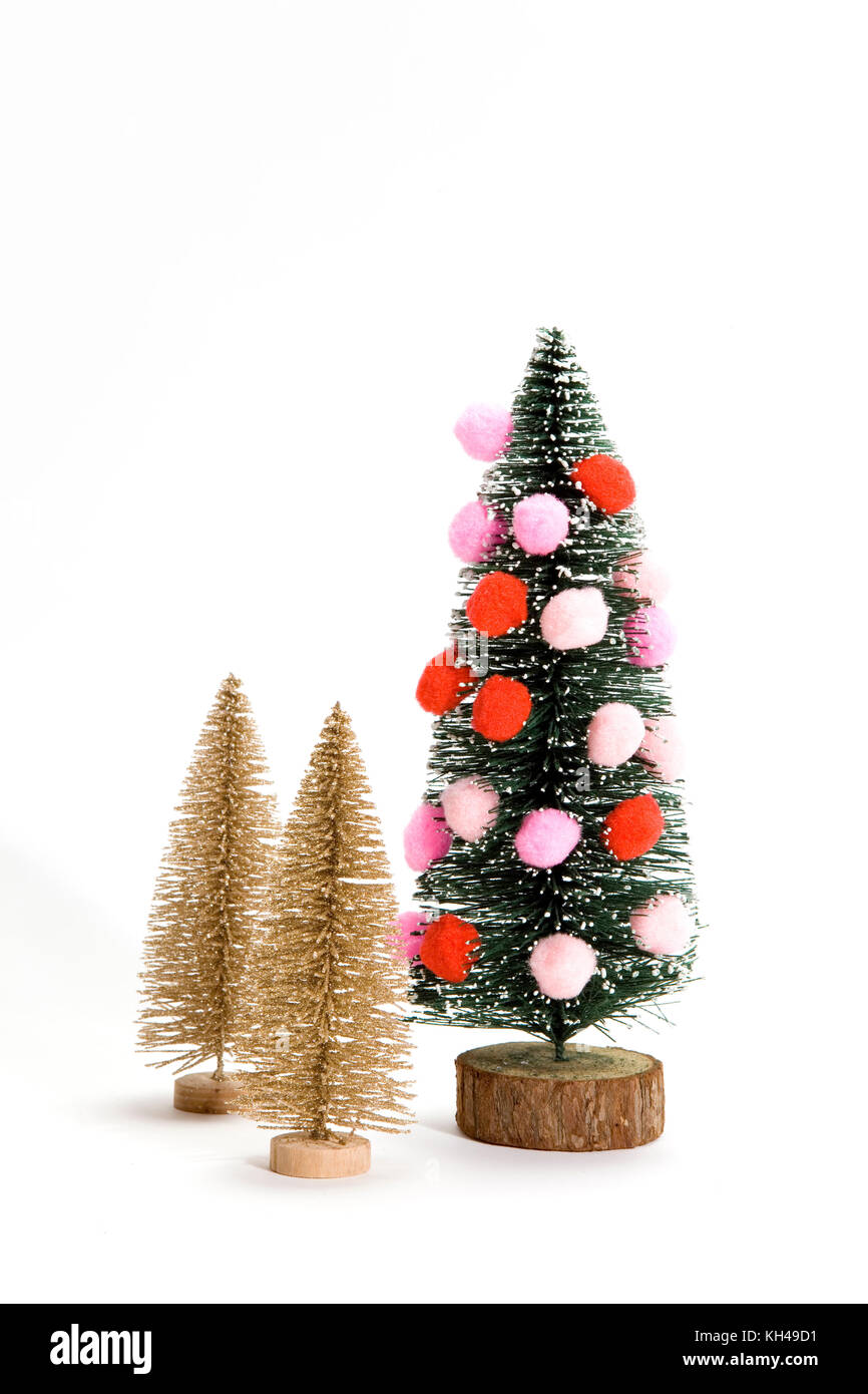 isolated christmas tree decorated with pompoms instead of christmad ...
