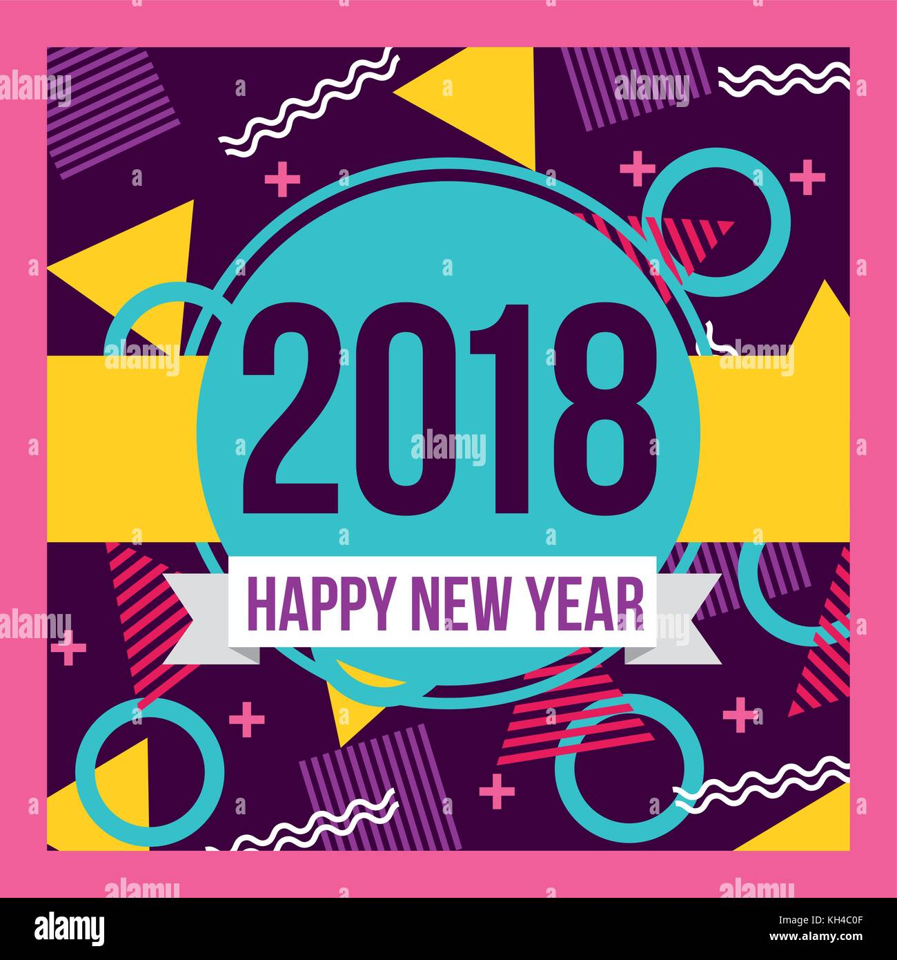 happy new year 2018 card greeting eve party celebration