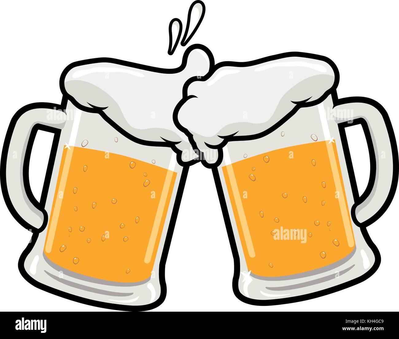beer toasting vector illustration of two beer mugs stock vector art rh alamy com beer mug clip art black and white beer mug clip art free images