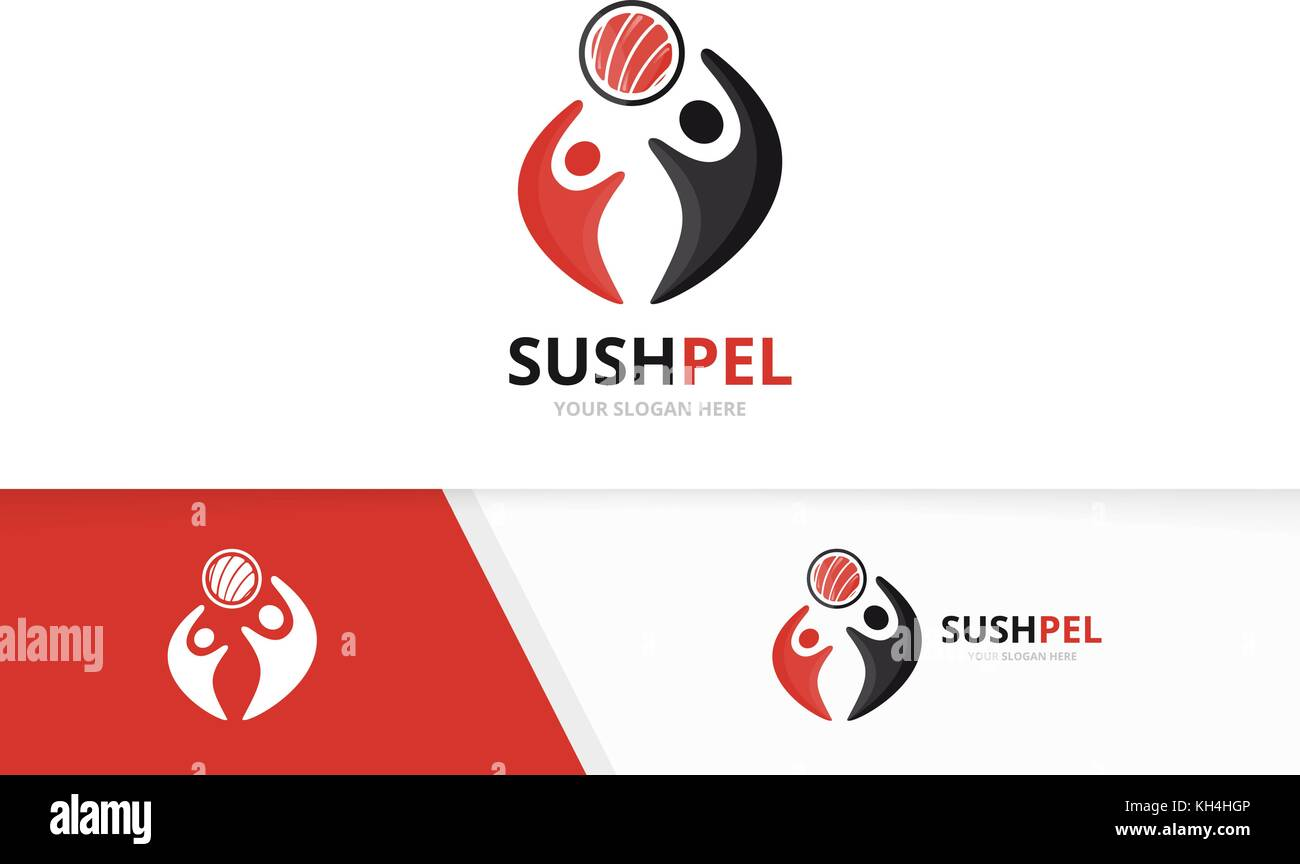 Vector sushi and people logo combination japanese food and family vector sushi and people logo combination japanese food and family symbol or icon unique biocorpaavc