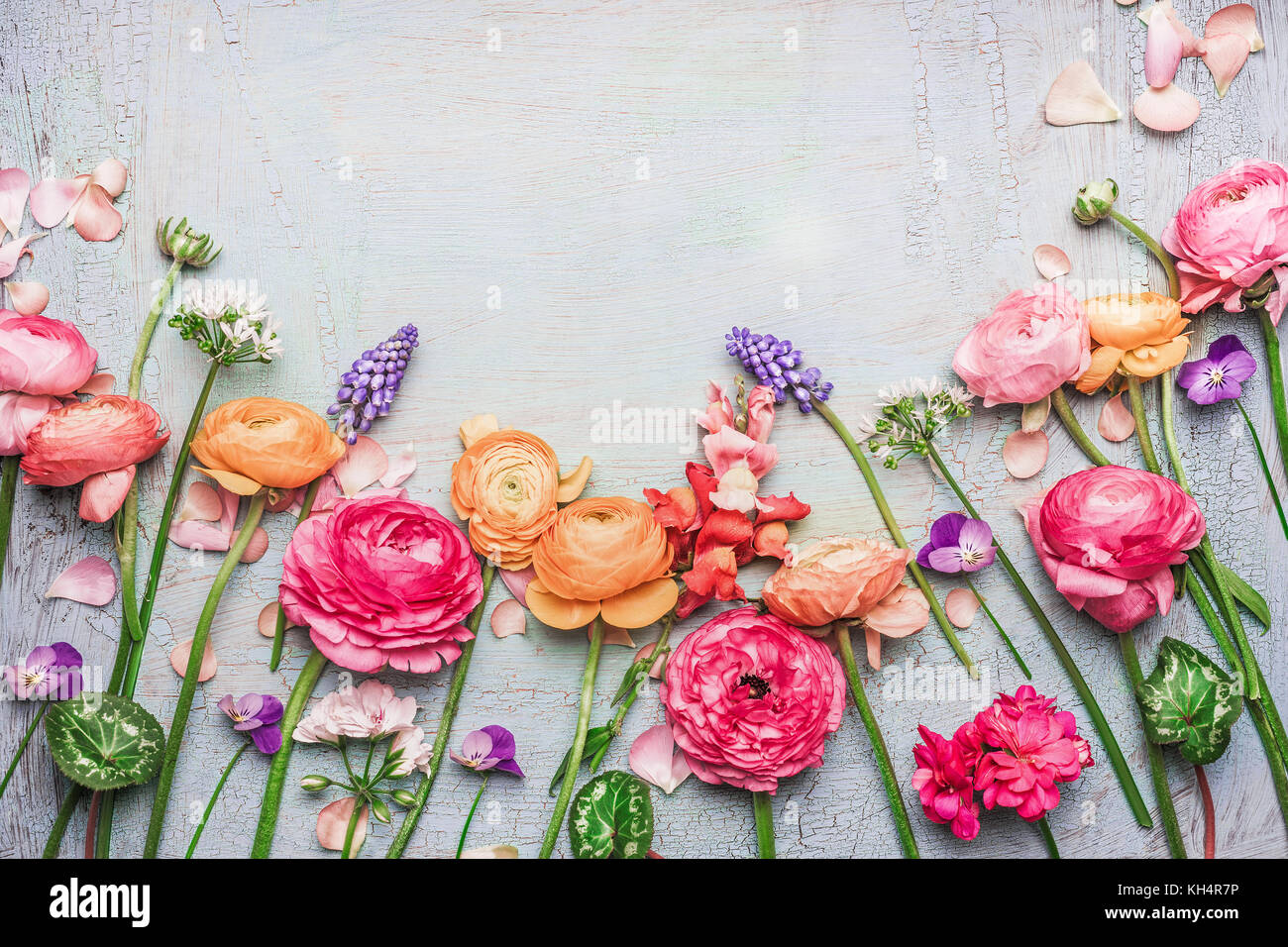 Border Of Various Beautiful Garden Flowers On Shabby Chic Background Frame Top View Floral