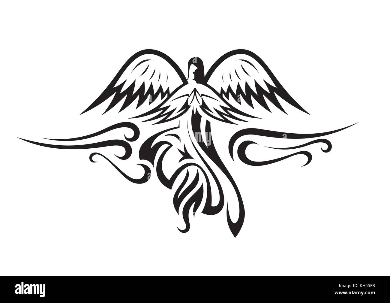 Silhouette flying angel stock photos silhouette flying angel black and white angel silhouette isolated vector stock image biocorpaavc