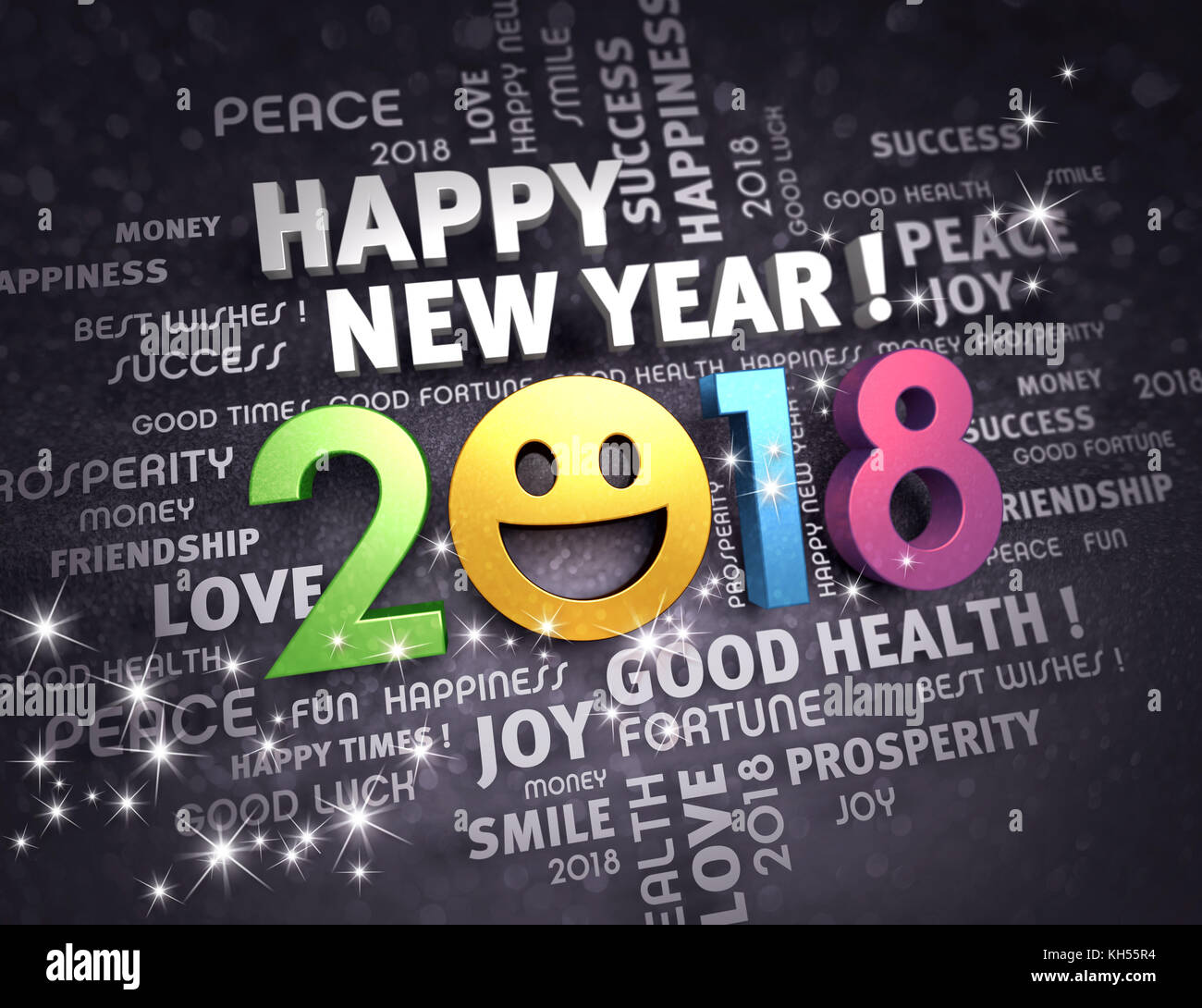 Happy new year 2018 date with a smiling face and greeting words happy new year 2018 date with a smiling face and greeting words on a glittering black background 3d illustration kristyandbryce Choice Image