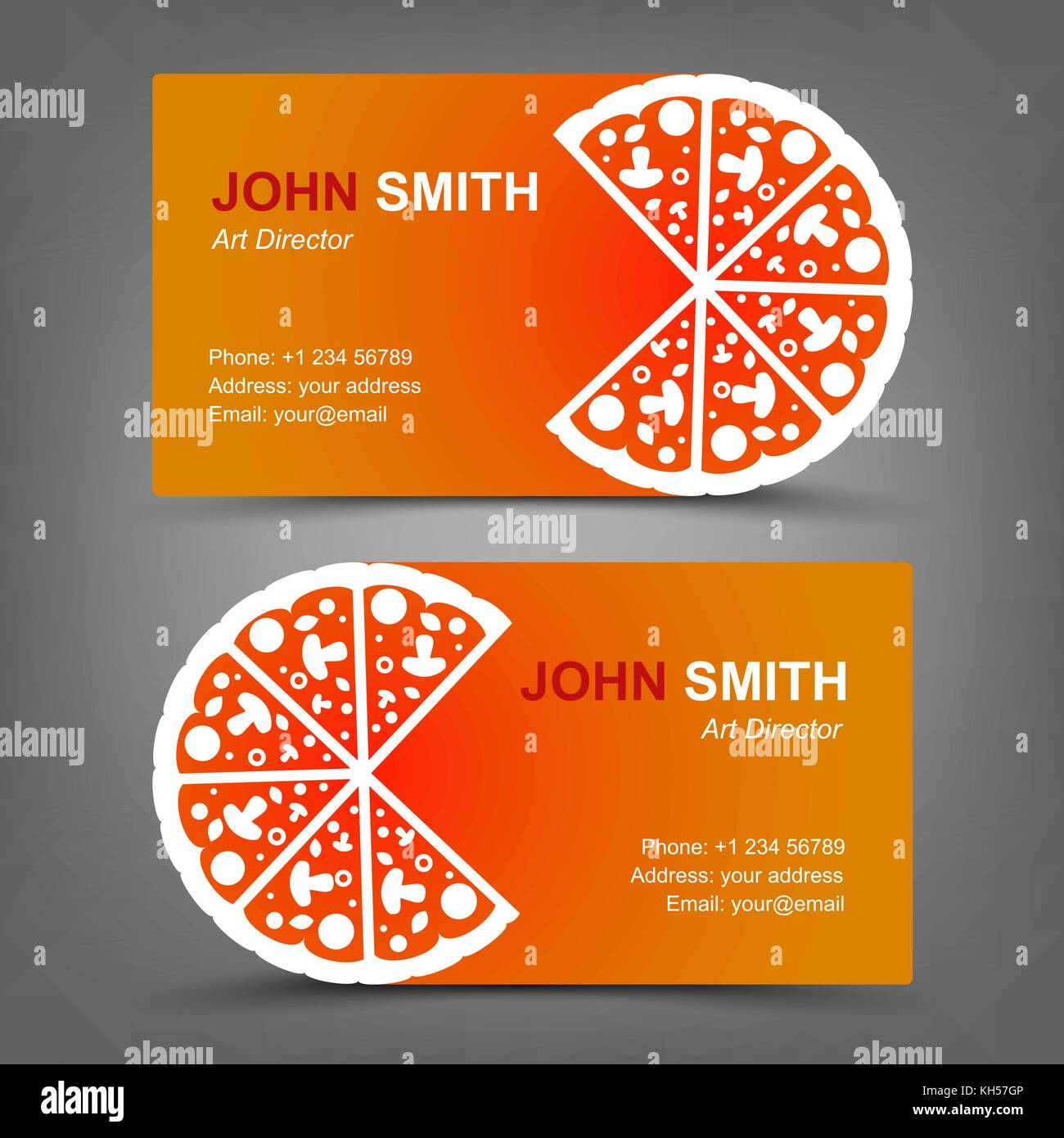 Business card. Pizza. Vector illustration in eps10 Stock Vector ...