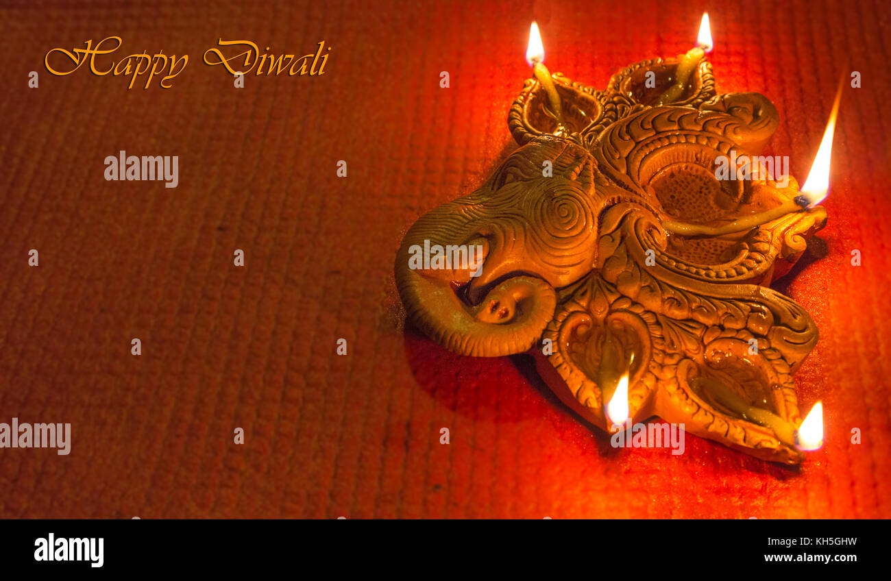 Diwali Colorful Decorative Clay Diya Lamps For Background Greetings