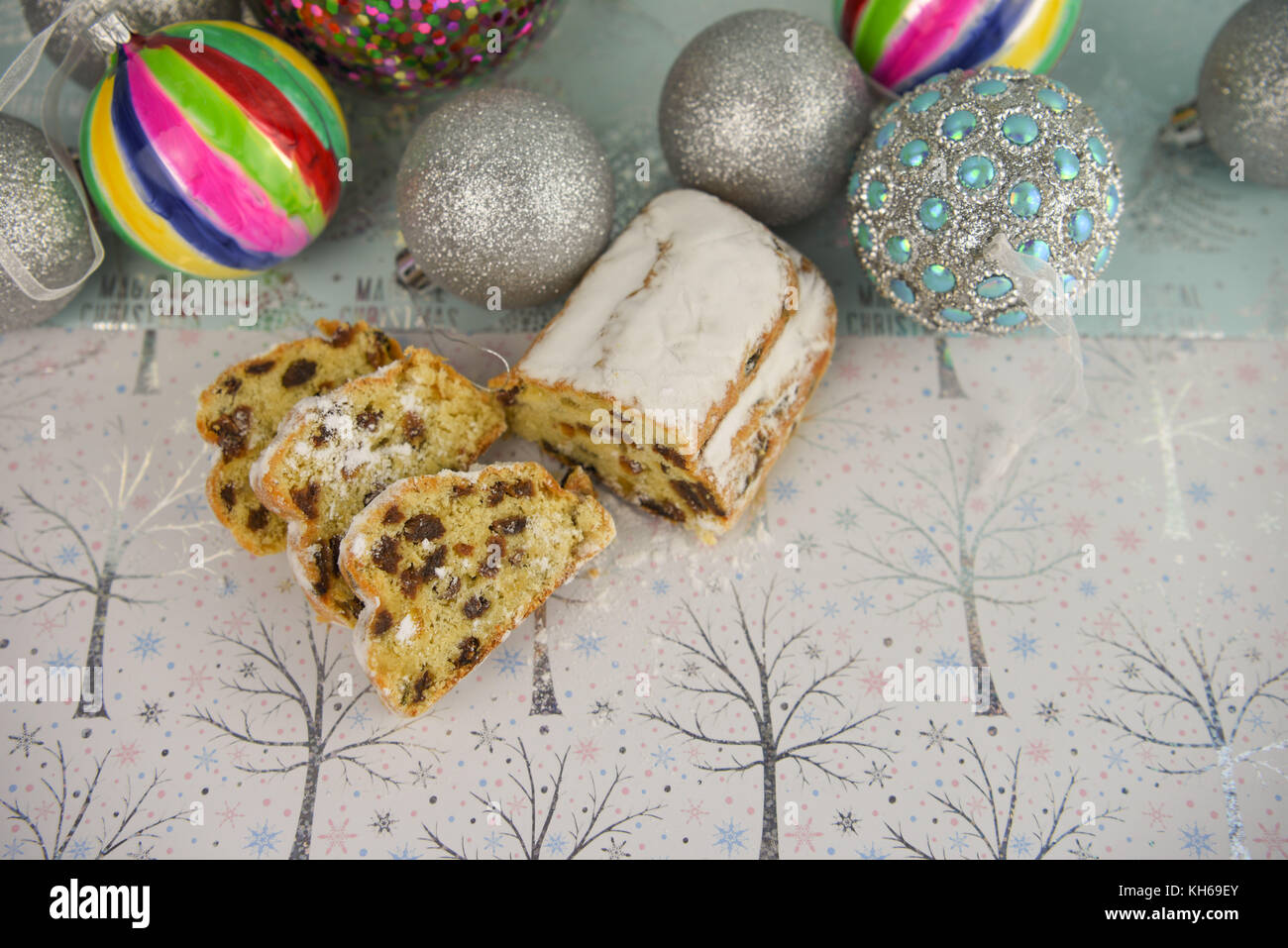 Christmas Food Photography Image Of Traditional Fruit Stollen With
