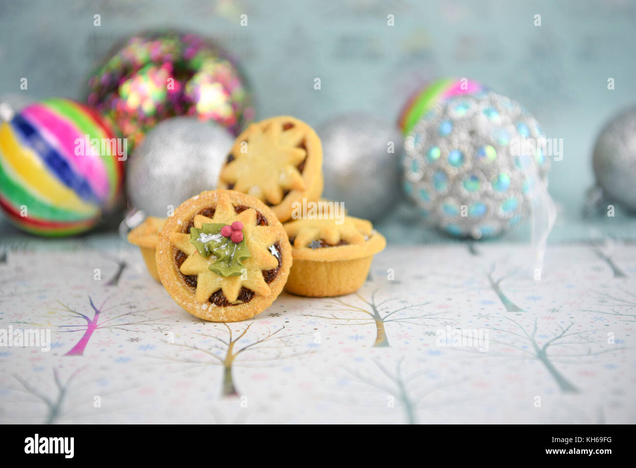 Christmas Food Photography Image Of Traditional Mince Pies With Tree