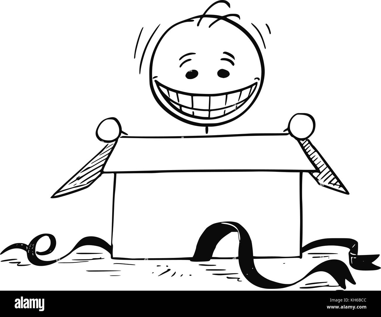Cartoon Stick Man Drawing Illustration Of Happy Smiling Looking In To Open Birthday Gift Box