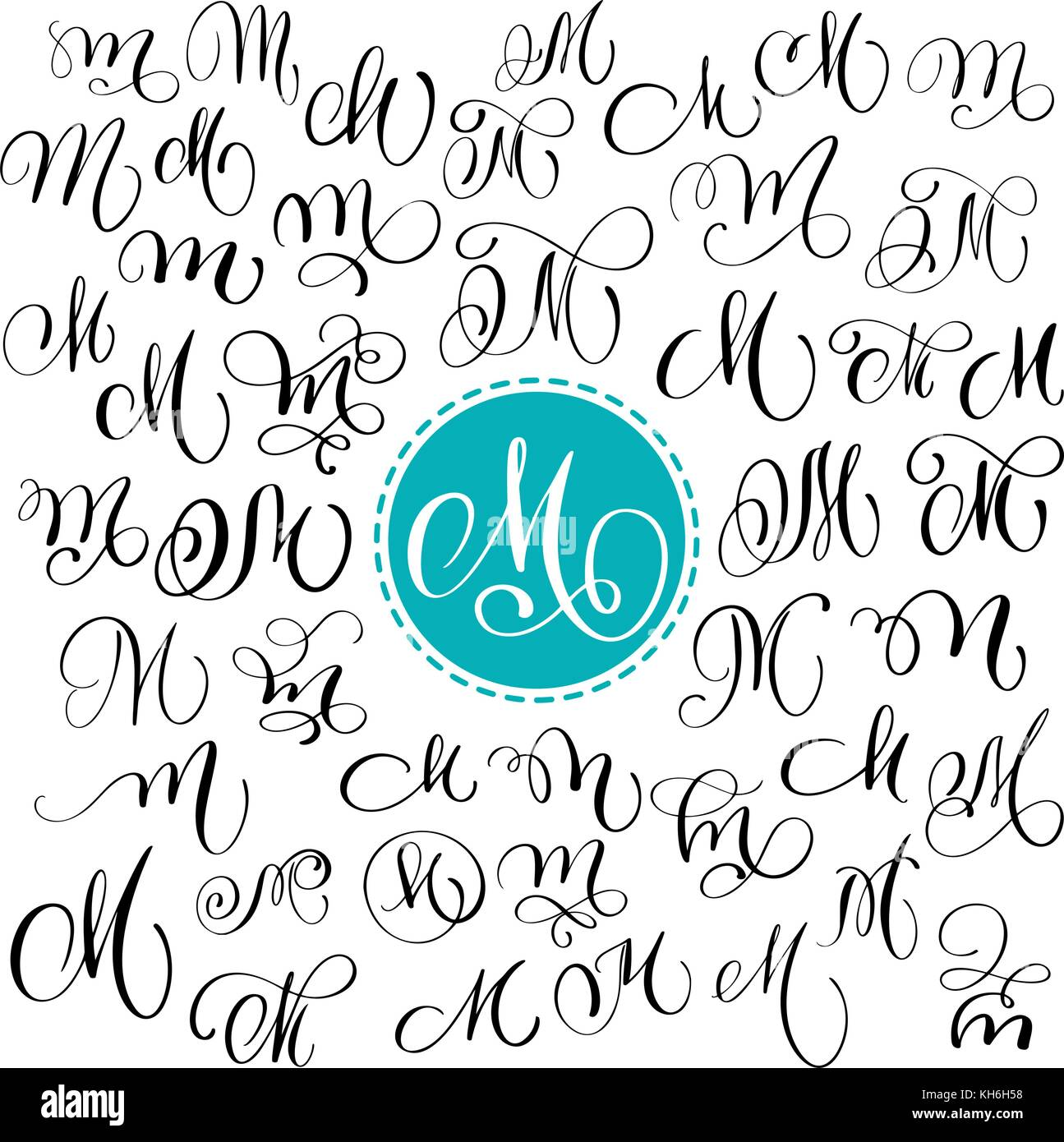 Set Of Hand Drawn Vector Calligraphy Letter M Script Font Isolated