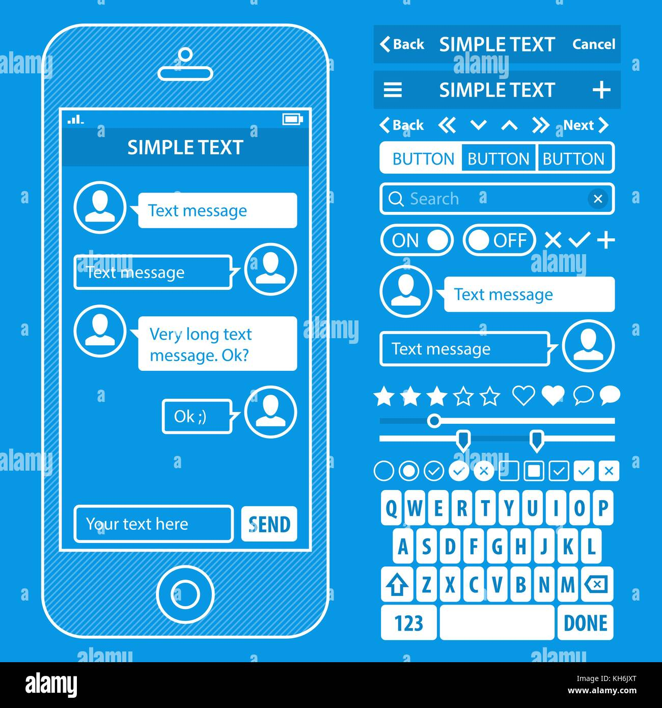 Ui elements blueprint design vector kit in trendy color with ui elements blueprint design vector kit in trendy color with simple mobile phone buttons forms windows and other interface elements chat message s malvernweather Image collections