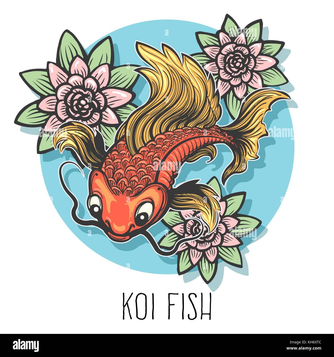 Hand drawn carp fish with lotus flowers drawn in tattoo style stock hand drawn carp fish with lotus flowers drawn in tattoo style isolated on white vector illustration izmirmasajfo Images