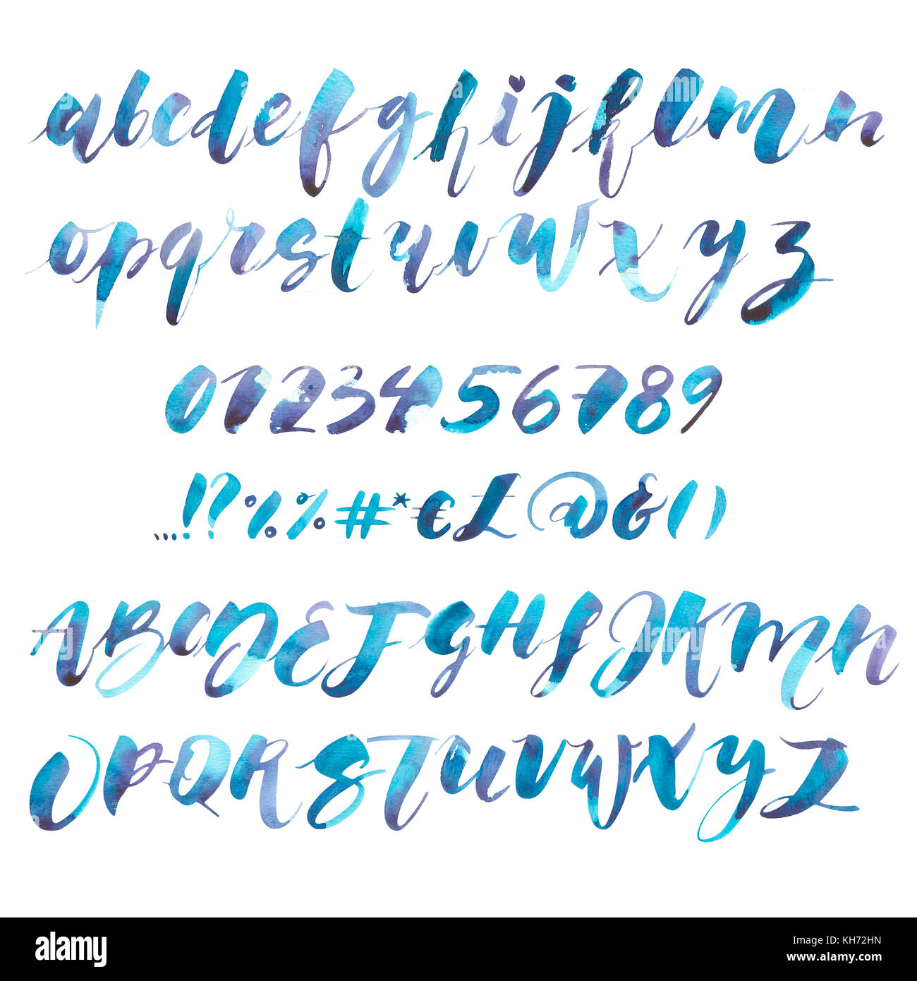 watercolor alphabet exclusive custom characters hand lettering and