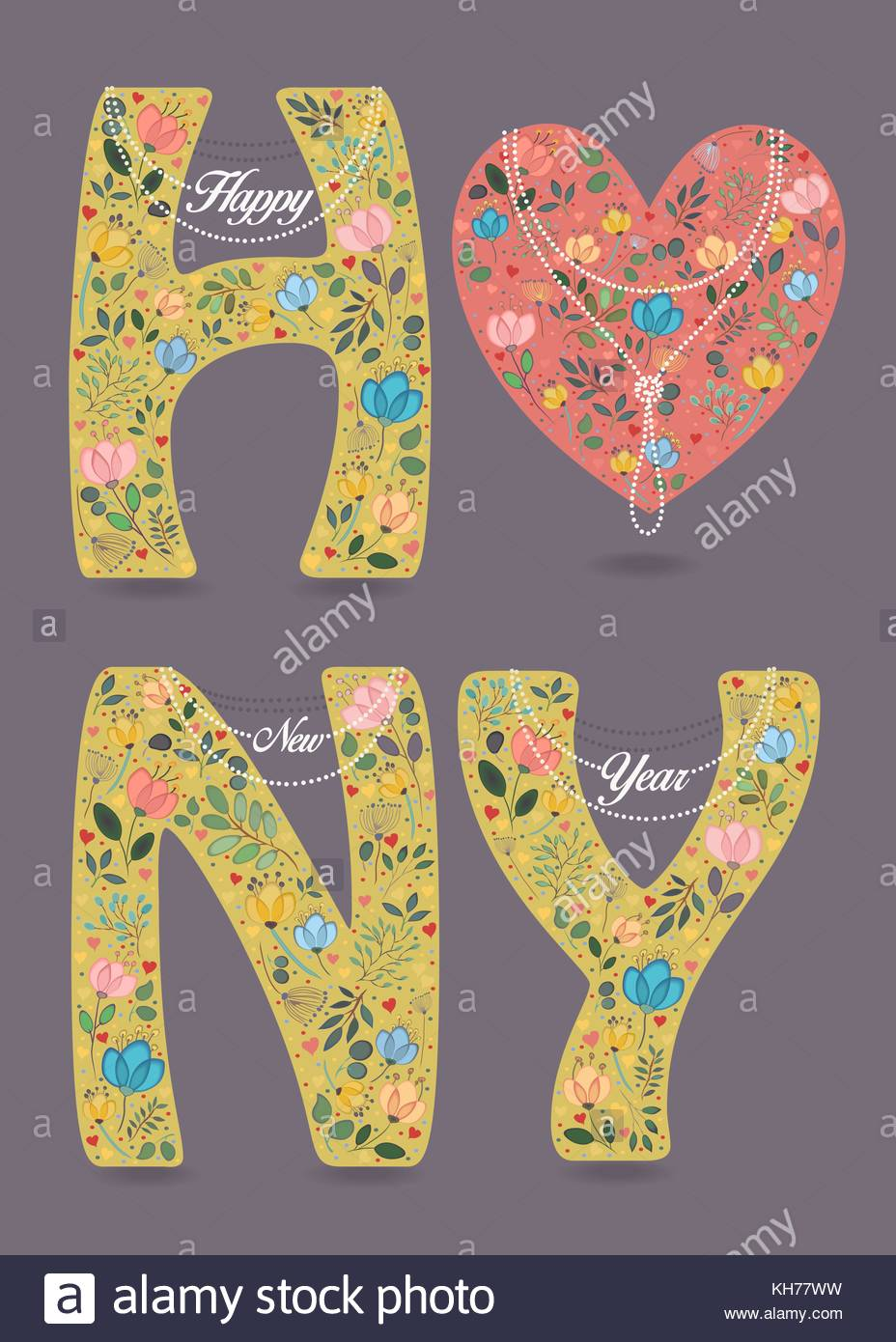 Happy new year pink big heart and yellow letters with floral pink big heart and yellow letters with floral decor white pearl collars and texts as pendats watercolor colorful flowers plants and buycottarizona Image collections