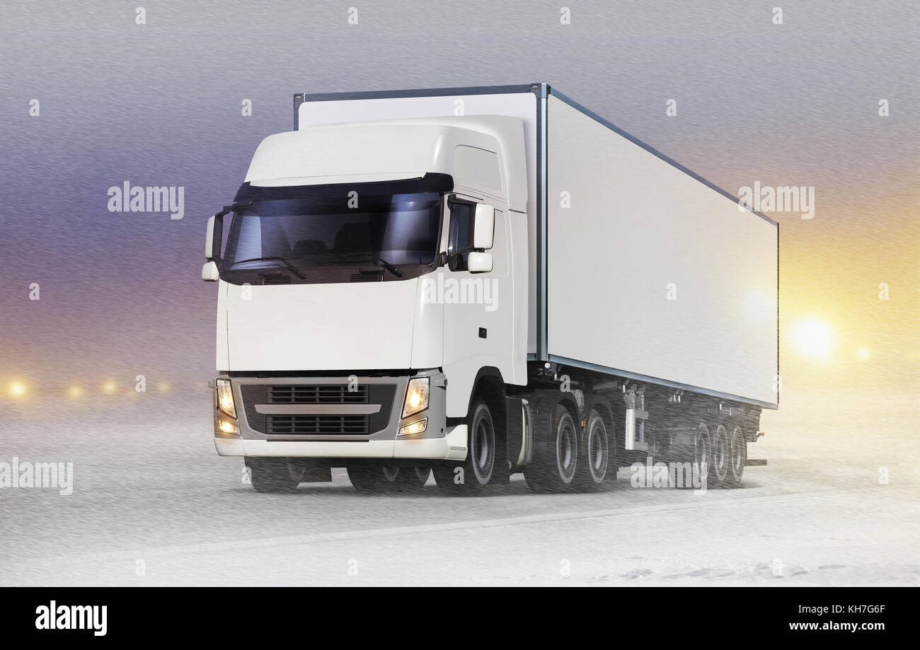 Container Truck Snow Stock Photos & Container Truck Snow ...