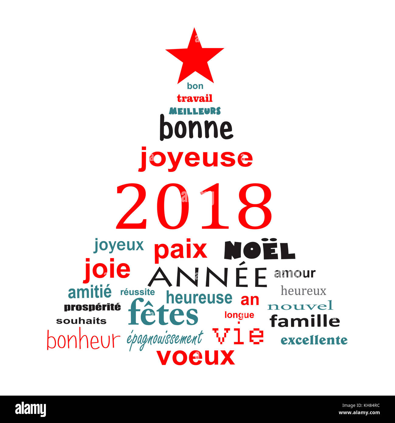 2018 New Year French Word Cloud Greeting Card In The Shape Of A