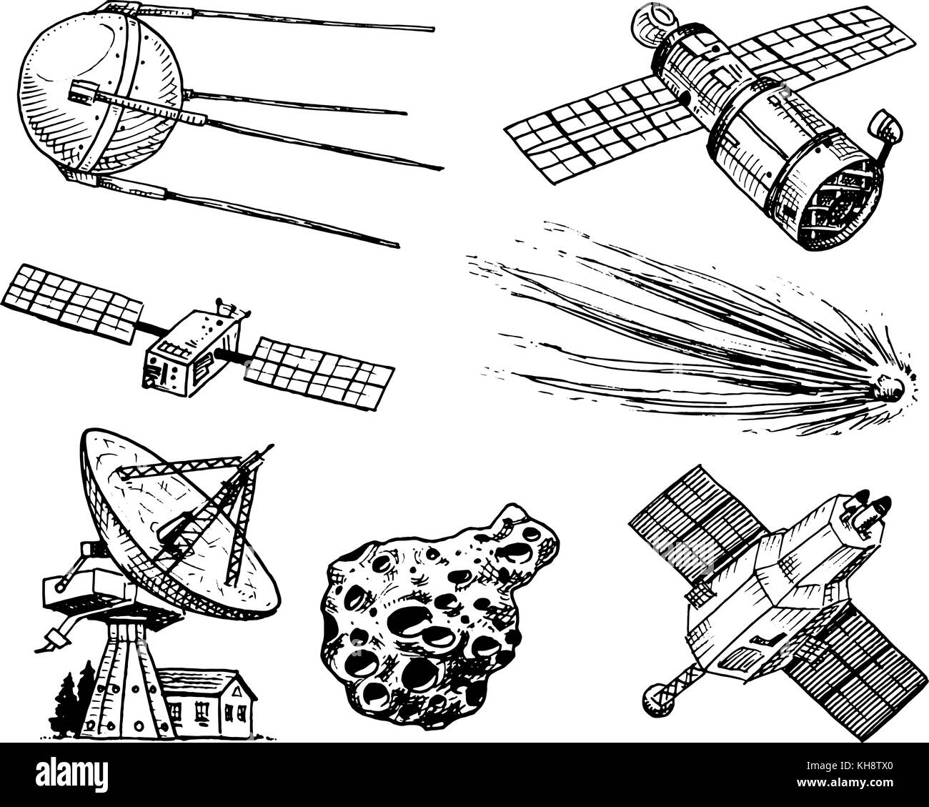 Space Shuttle Radio Telescope And Comet Asteroid Meteorite Diagram Astronaut Exploration Engraved Hand Drawn In Old Sketch Vintage Style For Label Flying