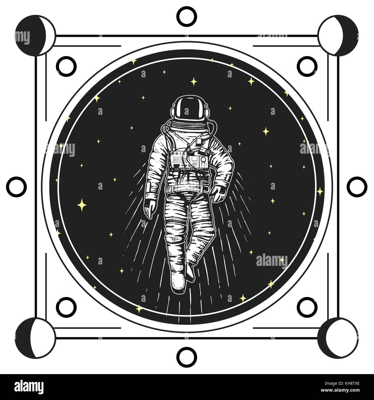 Astronaut Spaceman Moon Phases Planets In Solar System Astronomical Galaxy Space Cosmonaut Explore Adventure Engraved Hand Drawn Old Sketch Vintage