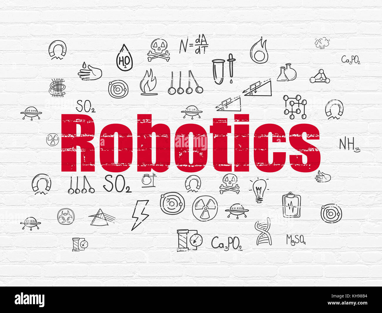 Science Concept Robotics On Wall Background Stock Photo 165546616
