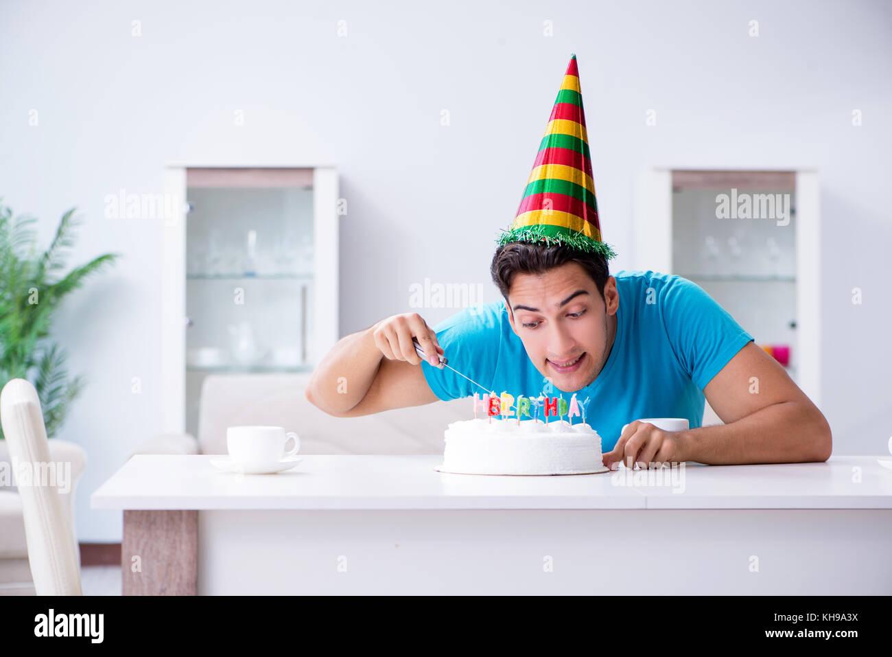 Boy Cutting Birthday Cake Stock Photos Boy Cutting Birthday Cake