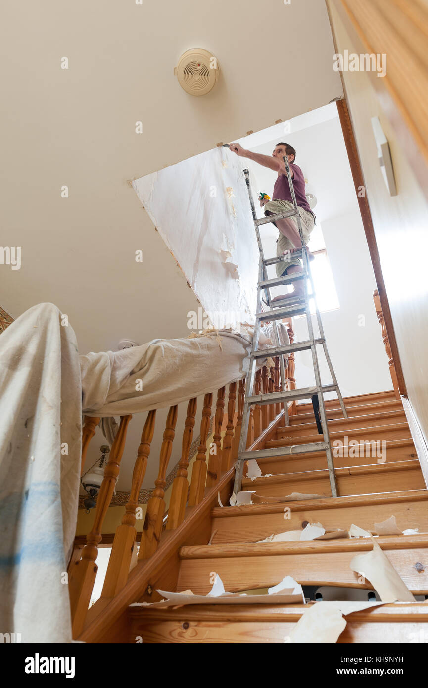 Dangerous Tricky Position Decorating Stripping On Home Stairs On A
