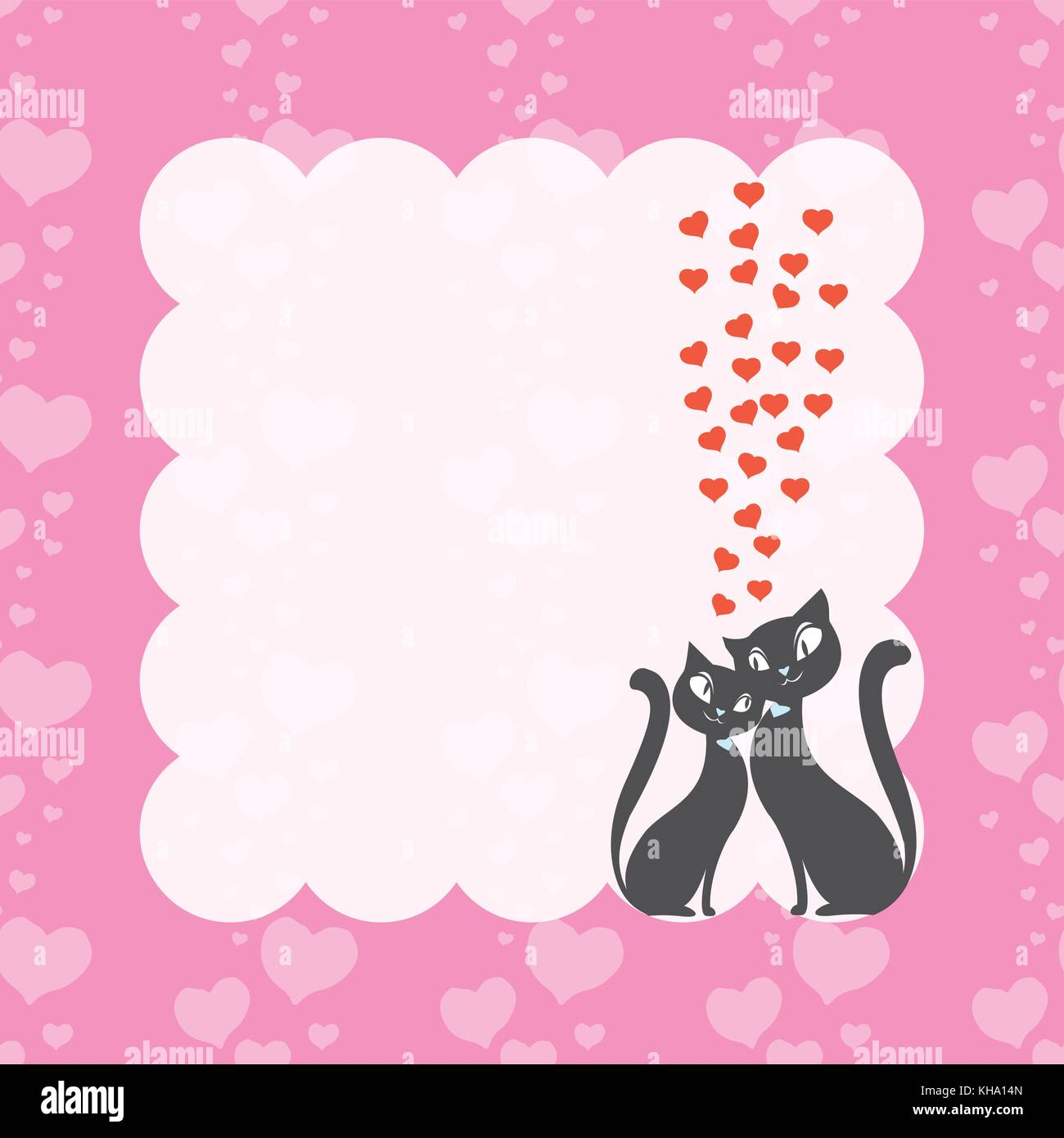 Couple love cats and frame with hearts seamless pattern Stock Vector ...