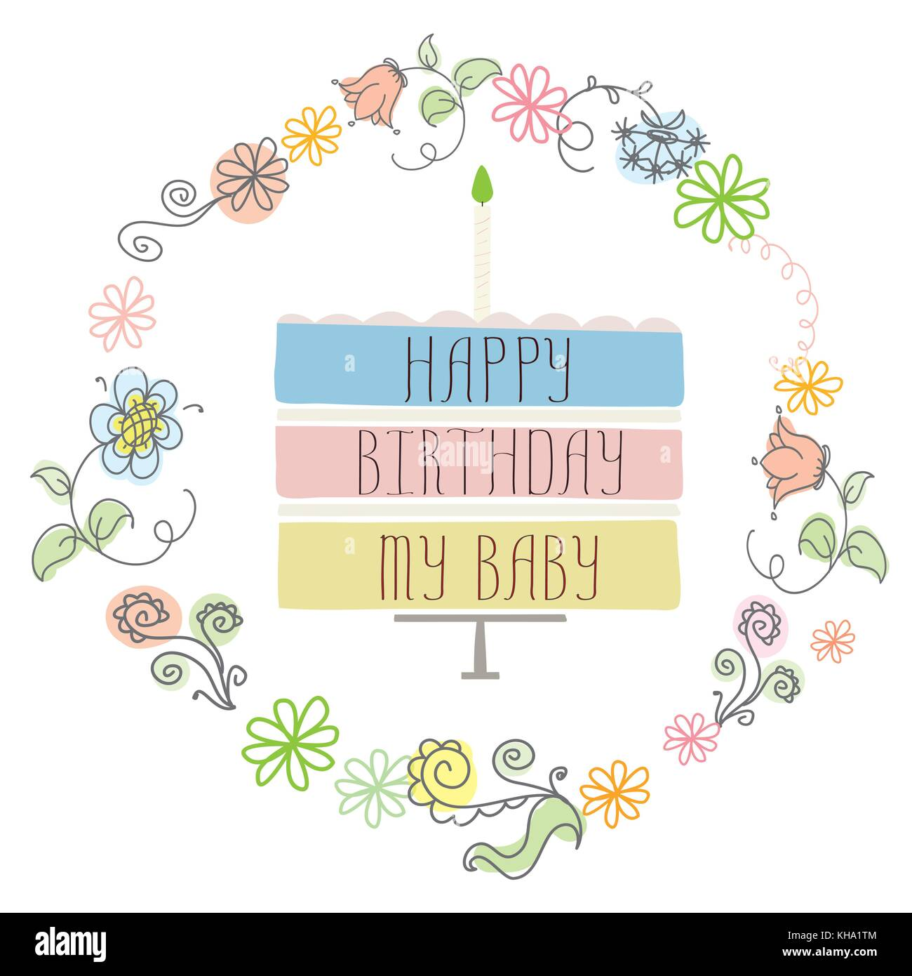 cute happy birthday card with cake, candle and frame flowers. On ...