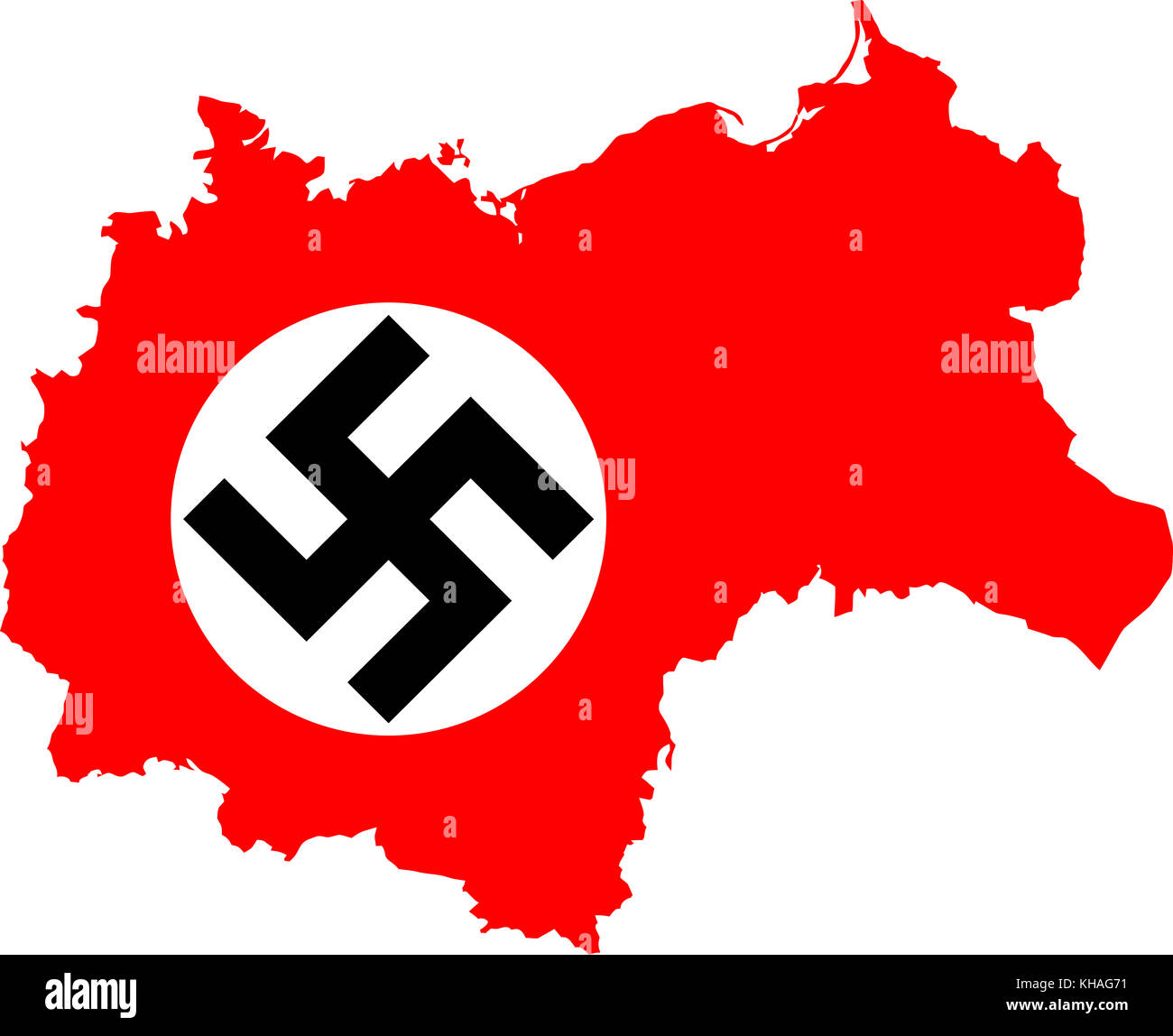 Map Of Nazi Germany With Swastika Third Reich In 1942 Stock Photo